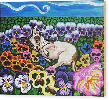 Chihuahua In Flowers Wood Print
