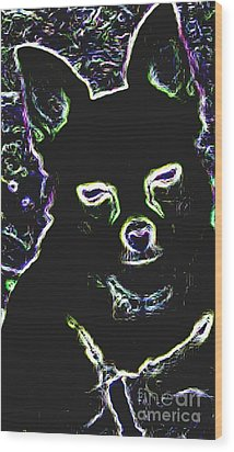 Chihuahua Silhouette With Color Wood Print by Gail Matthews