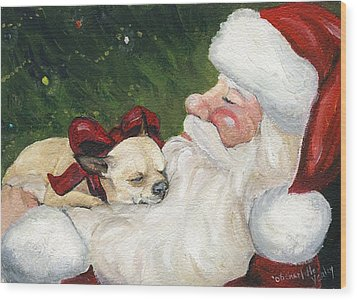 Chihuahua's Cozy Christmas Wood Print