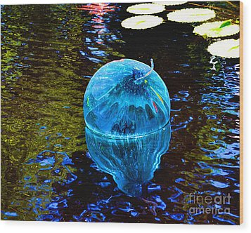Artsy Blue Glass Float Wood Print by Luther Fine Art