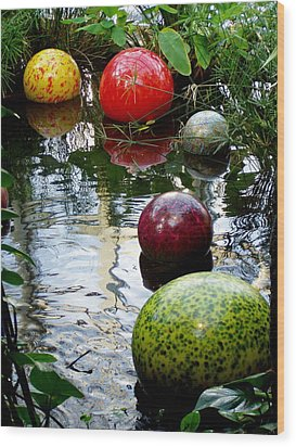 Chihuly Globes Wood Print by Laurel Talabere