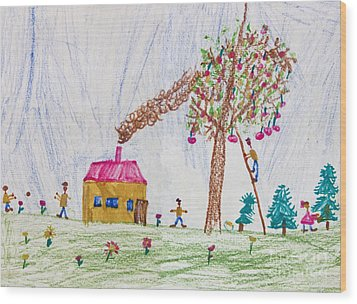 Child Drawing Of A Happy Family Wood Print by Kiril Stanchev