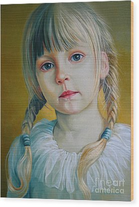 Child Wood Print by Elena Oleniuc