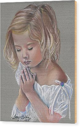 Child In Prayer Wood Print by Tonya Butcher