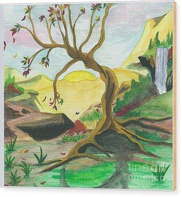 Child Of Earth Wood Print by Jeanel Walker