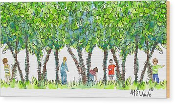 Child Play Wood Print by Kathleen McElwaine