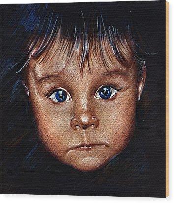 Child Portrait Wood Print by Daliana Pacuraru