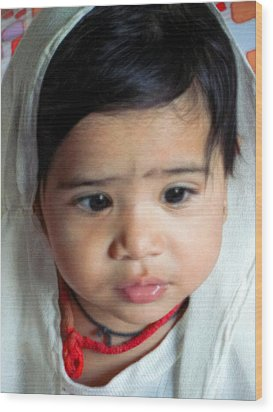 Child Portrait Wood Print by Makarand Purohit