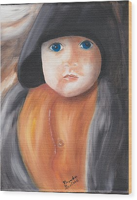 Child With Hood Wood Print by Brenda Bonfield