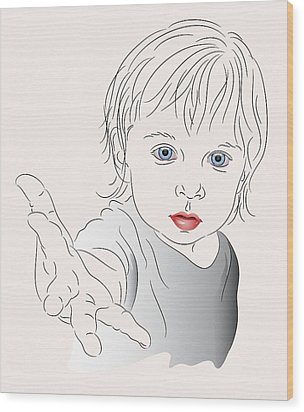 Child With Outstretched Hand Wood Print