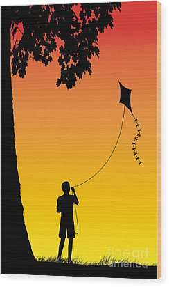 Childhood Dreams 1 The Kite Wood Print by John Edwards