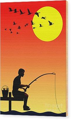 Childhood Dreams 3 Fishing Wood Print by John Edwards