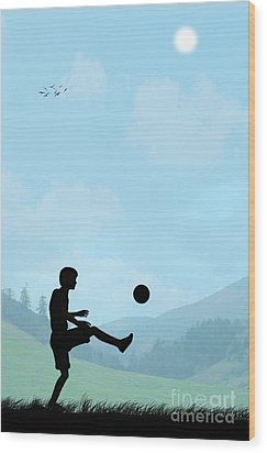 Childhood Dreams Football Wood Print by John Edwards