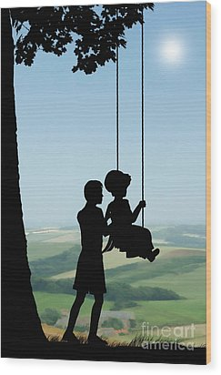 Childhood Dreams Push Me Wood Print by John Edwards