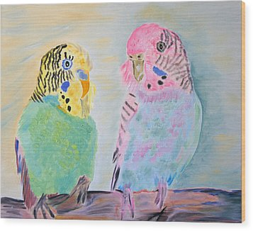 Childhood Parakeets Wood Print by Meryl Goudey