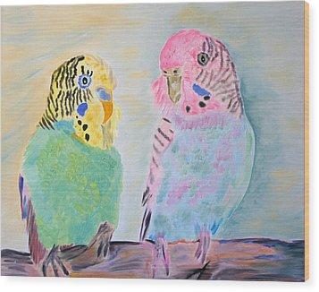 Childhood Parakeets Wood Print