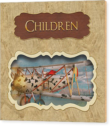Children Button Wood Print by Mike Savad