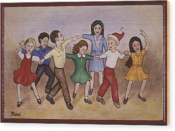 Children Dancing Wood Print by Linda Mears