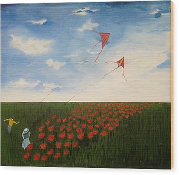 Children Flying Kites Wood Print by Rejeena Niaz
