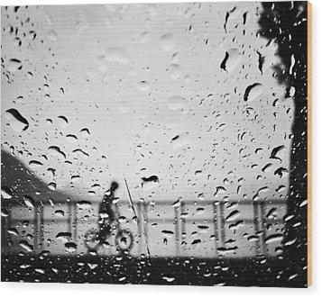 Children In Rain Wood Print by Jerry Cordeiro