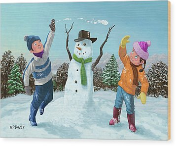 Children Playing In Snow Wood Print by Martin Davey