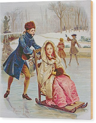 Children Skating Wood Print by Maurice Leloir