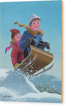 Children Snow Sleigh Ride Wood Print by Martin Davey