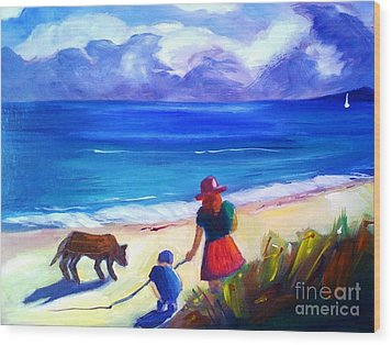 Wood Print featuring the painting Children With Dog - Original Sold by Therese Alcorn