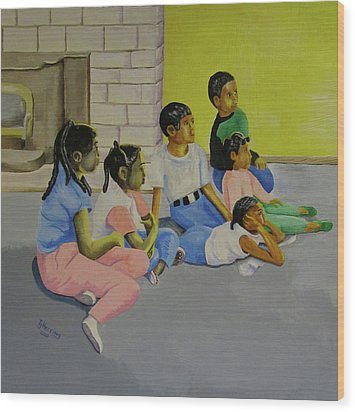 Wood Print featuring the painting Children's Attention Span  by Thomas J Herring