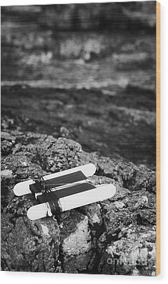 Childrens Bright Orange Crab Line Fishing Line Sitting On Rocks With Rock Pools Wood Print by Joe Fox