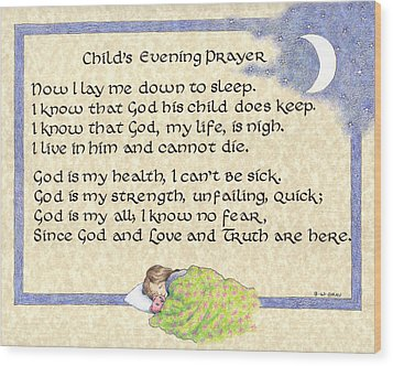 Child's Evening Prayer Wood Print