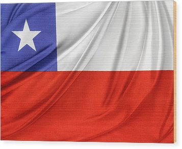 Chile Flag  Wood Print by Les Cunliffe