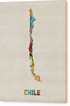 Chile Watercolor Map Wood Print by Michael Tompsett
