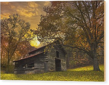 Chill Of An Early Fall Wood Print by Debra and Dave Vanderlaan