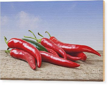 Chilli Peppers On Rustic Background Wood Print
