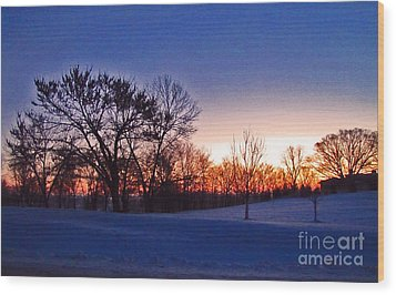 Chilly Beautiful Sunrise Wood Print by Minding My  Visions by Adri and Ray