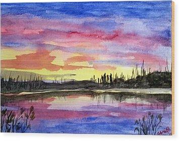 Chilly Morning Sunrise Wood Print