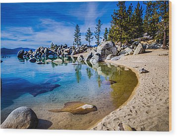 Chimney Beach Lake Tahoe Shoreline Wood Print