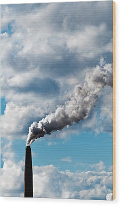 Chimney Exhaust Waste Amount Of Co2 Into The Atmosphere Wood Print by Ulrich Schade