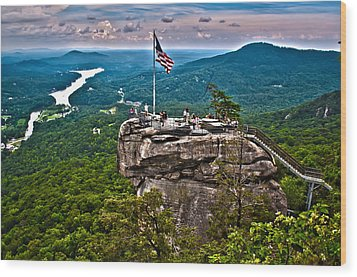 Wood Print featuring the photograph Chimney Rock At Lake Lure by Alex Grichenko