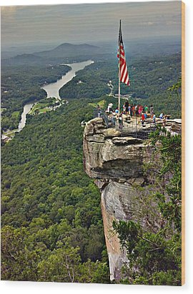 Wood Print featuring the photograph Chimney Rock Overlook by Alex Grichenko