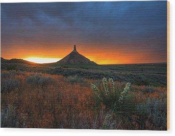 Chimney Rock Sunset Wood Print by Chris Allington