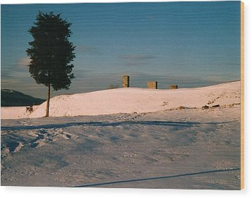 Chimneys And Tree Wood Print by David Fiske