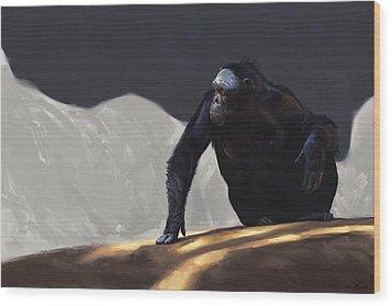 Chimp Contemplation Wood Print by Aaron Blaise