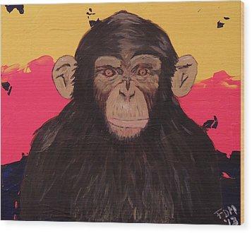 Chimp In Prime Wood Print