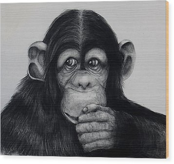 Chimp Wood Print by Jean Cormier