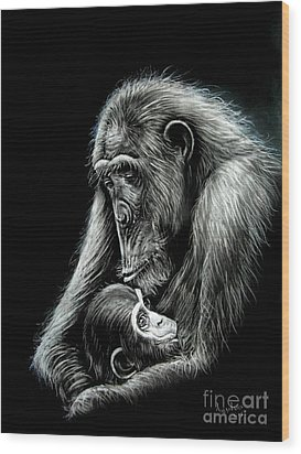 Chimp Love Wood Print by Anastasis  Anastasi