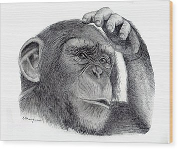 Chimp Wood Print by Mary Mayes