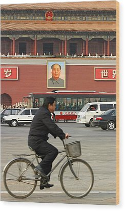 Wood Print featuring the photograph China Bicycle by Henry Kowalski