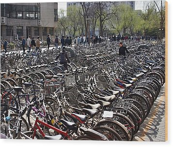 Wood Print featuring the photograph China Bicycle Parking by Henry Kowalski